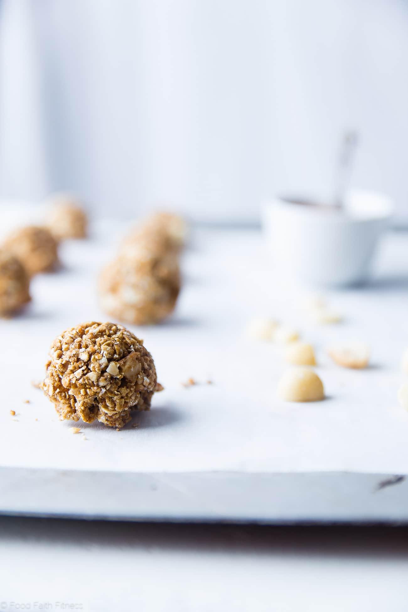 Rolling white chocolate macadamia nut cookies. Recipe on Foodfaithfitness.com
