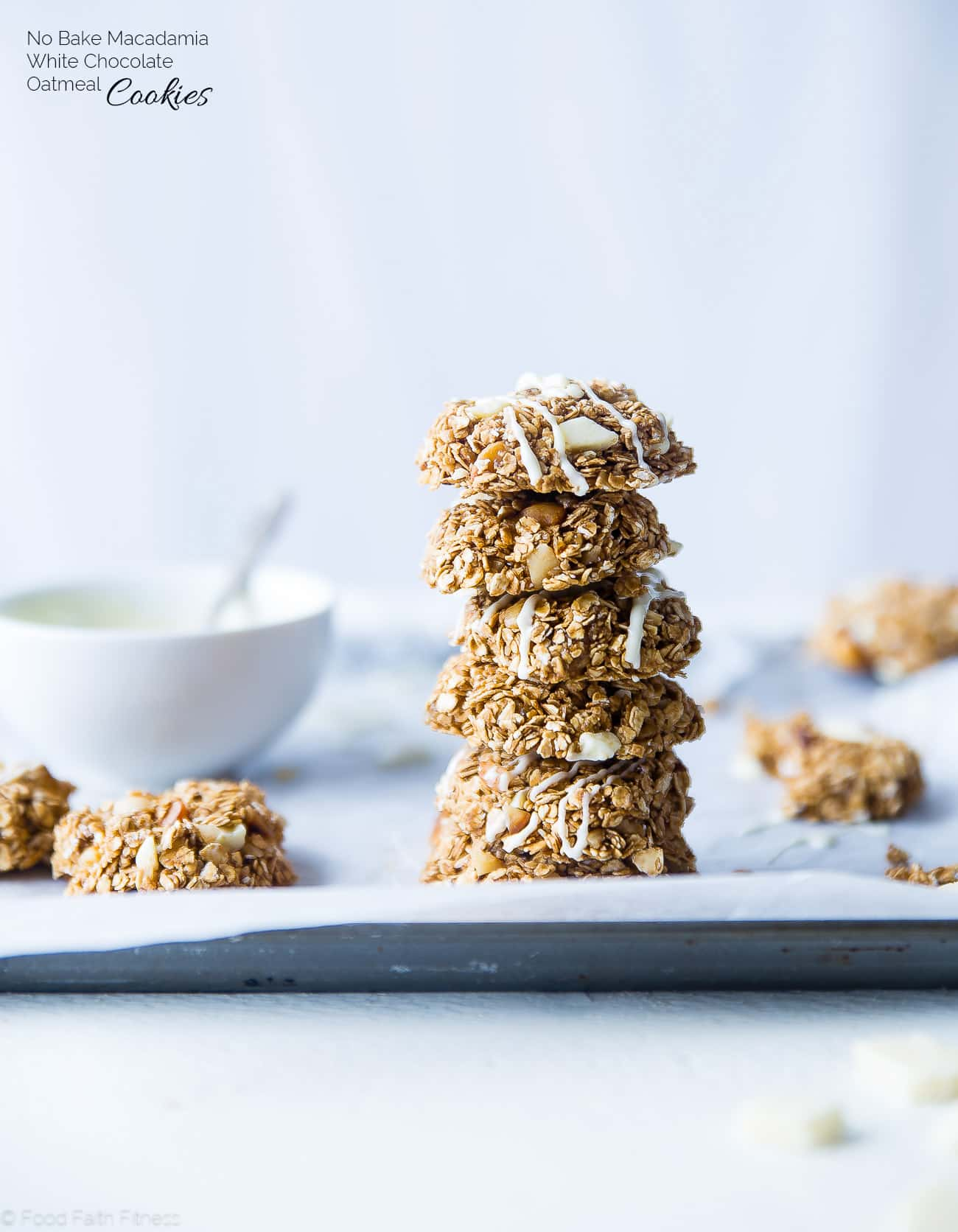 No bake white chocolate macadamia nut cookies stacked on top of each other. Recipe on Foodfaithfitness.com