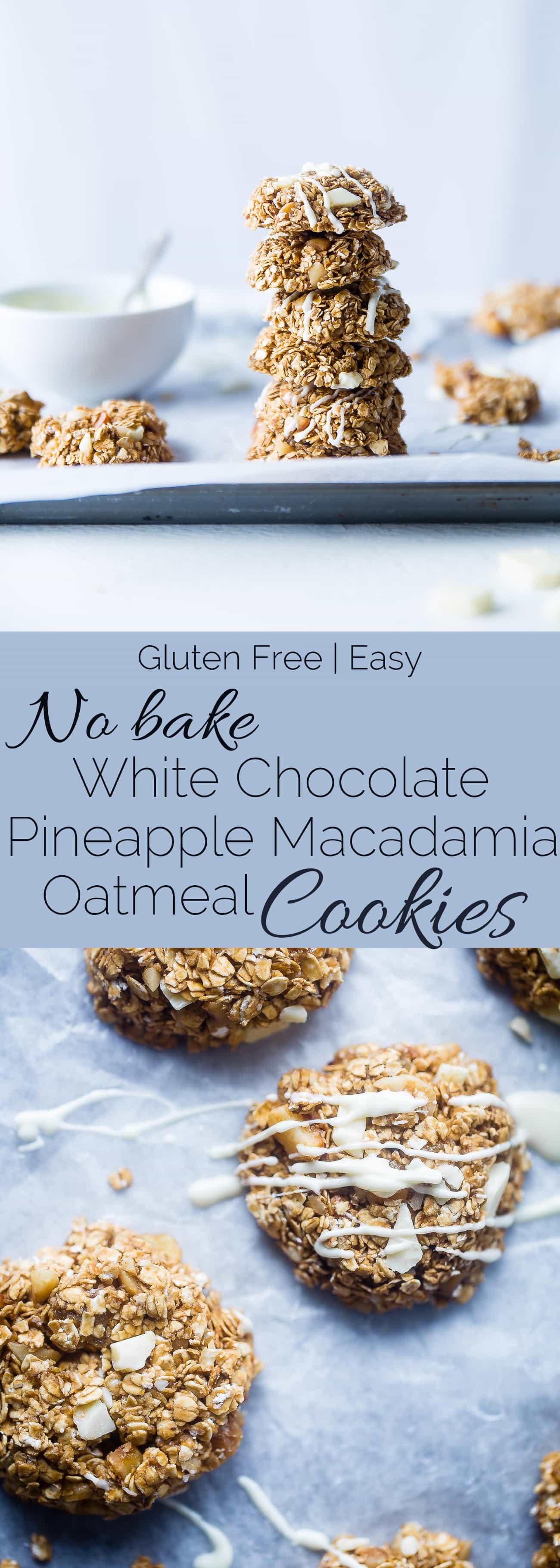 Collage image of no bake white chocolate macadamia nut cookies. Recipe on Foodfaithfitness.com
