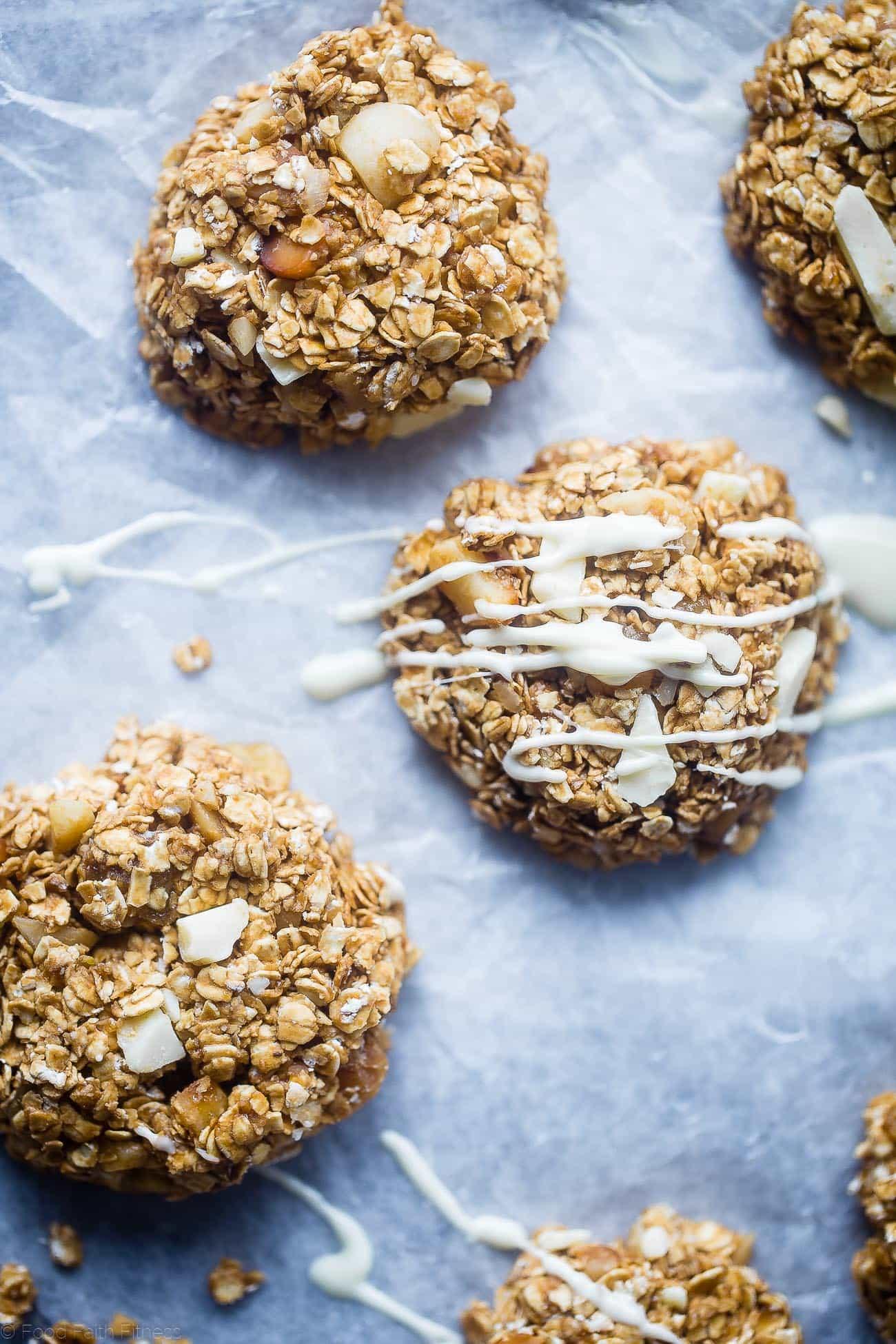 White chocolate drizzled onto no bake white chocolate macadamia nut cookies. Recipe on Foodfaithfitness.com
