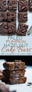 Paleo Hazelnut Chocolate Pumpkin Cake Bars - Made in one bowl and are loaded with chocolate! They're a quick and easy, healthy and gluten free fall treat for only 110 calories! | Foodfaithfitness.com | @FoodFaithFit