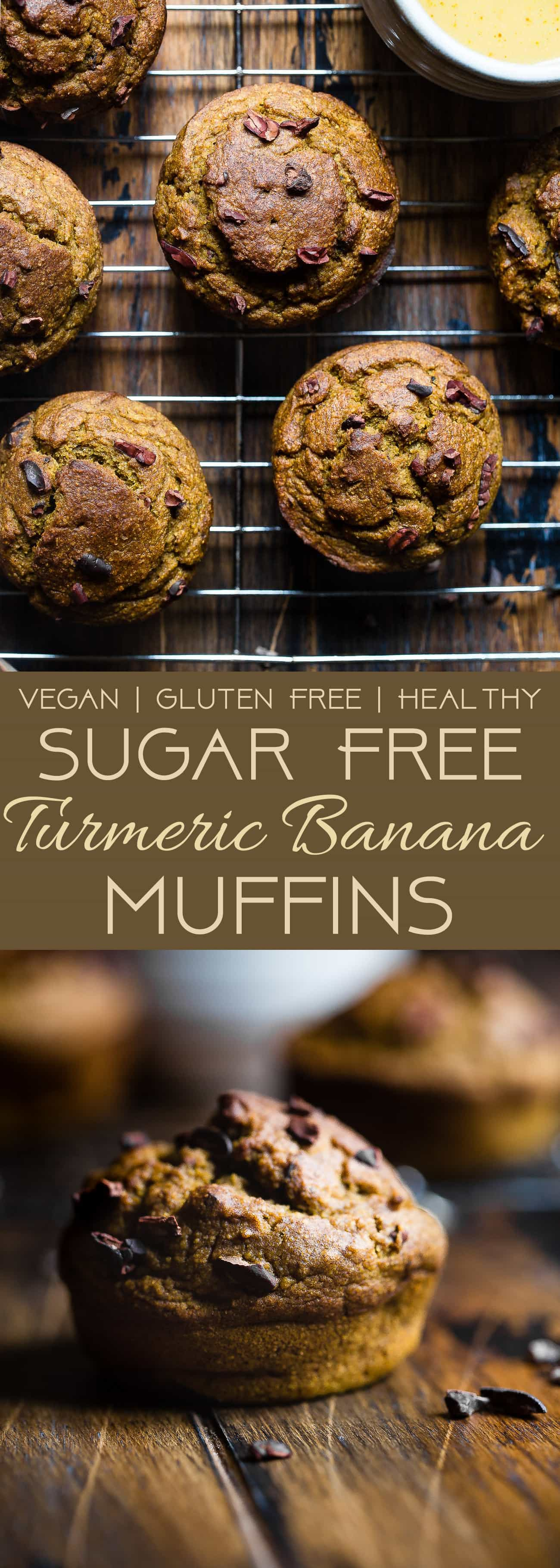 Sugar Free Turmeric Banana Muffins - These anti-inflammatory, healthy banana muffins are loaded with crunchy cocoa nibs! Gluten free, vegan friendly, low fat and only 180 calories! Perfect for a quick breakfast! | Foodfaithfitness.com | @FoodFaitFit