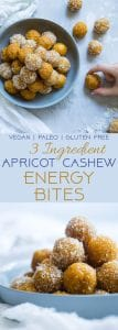 3 Ingredient No Bake Apricot Cashew Energy Bites - These  kid-friendly, vegan energy bites are a quick and easy, healthy snack for busy days! Gluten free and paleo friendly too! | Foodfaithfitness.com | @FoodFaithFit