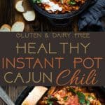 Instant Pot Cajun Chili -This quick and easy, healthy Instant Pot chili, with a little Cajun flair, is sure to become a family favorite! It's dairy/grain/gluten free, makes great leftovers and freezes great! Perfect for meal prep! | Foodfaithfitness.com | @FoodFaithFit