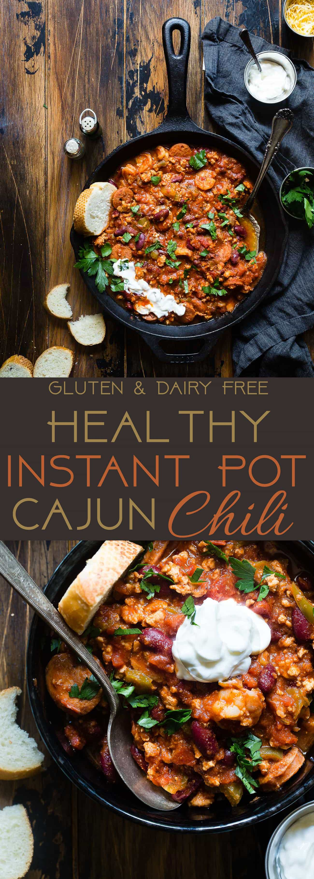 Instant Pot Cajun Chili -This quick and easy, healthy Instant Pot chili, with a little Cajun flair, is sure to become a family favorite! It's dairy/grain/gluten free, makes great leftovers and freezes great! Perfect for meal prep! | Foodfaithfitness.com | @FoodFaithFit | Easy chili recipes. gluten free chili. slow cooker chili. crock pot chili. slow cooker chili recipe. quick and easy chili. healthy chili recipes.