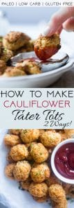 How to Make Cauliflower Tater Tots - Ever wondered how to make low carb cauliflower tater tots? Learn two easy ways – a paleo and cheesy version – to make your favorite treat healthy, gluten free and grain free!  | Foodfaithfitness.com | @FoodFaithFit