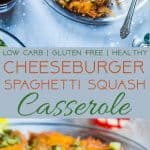 Low Carb Cheeseburger Spaghetti Squash Casserole - Healthy comfort food at it's best! All the cheeseburger taste without all the carbs! A healthy and gluten free, crowd-pleasing dinner that the whole family will love! | FoodFaithFitness.com | @FoodFaithFit