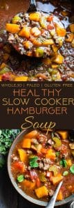 Paleo Slow Cooker Hamburger Soup -This easy, healthy hamburger soup is made in the slow cooker and is a grain/dairy/sugar/gluten free and whole30 dinner that the whole family will love! Makes great leftovers too! | Foodfaithfitness.com | @FoodFaithFit