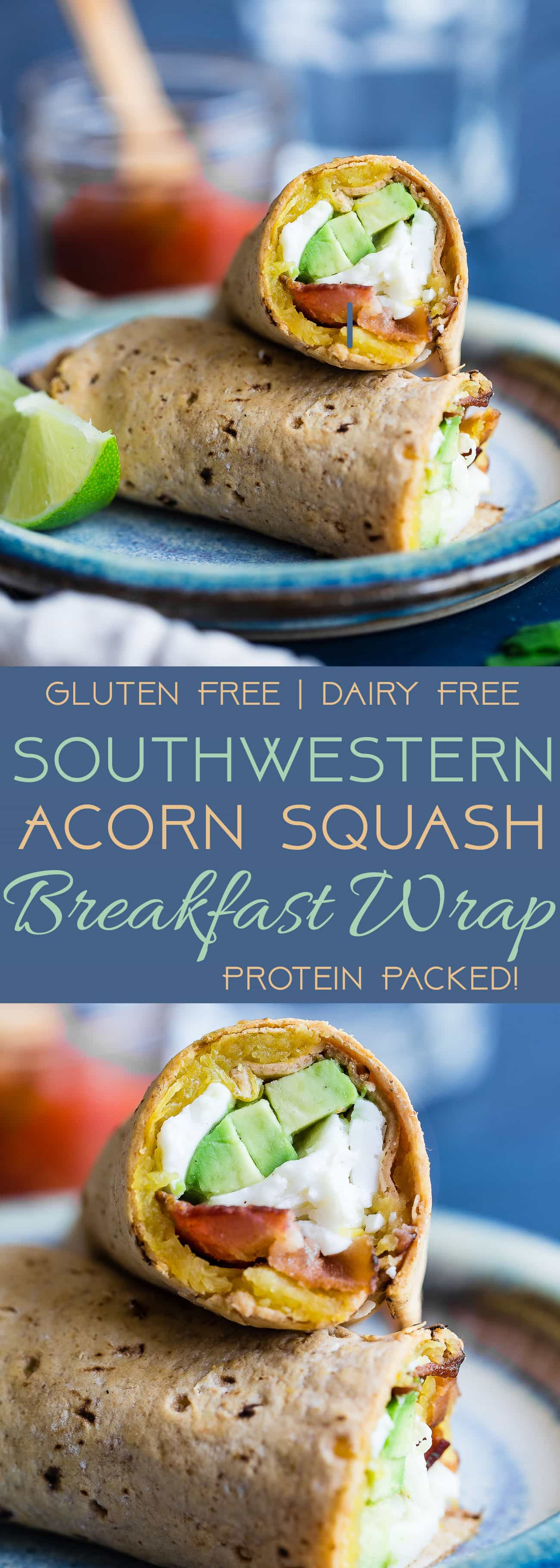 Southwestern Breakfast Burrito - A delicious, gluten free and protein packed breakfast for busy mornings that uses taco seasoned, roasted acorn squash to give it a sweet and spicy flavor! | Foodfaithfitness.com | @FoodFaithFit
