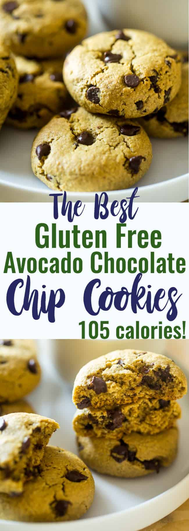 The BEST Healthy Chocolate Chip Avocado Cookie - These gluten free chocolate chip cookies are SO big, soft and chewy that you would never believe they are butter/oil free and use avocado to make them low fat and only 105 calories! | #Foodfaithfitness | #Glutenfree #Healthy #Avocado #ChocolateChipCookies #OatFlour