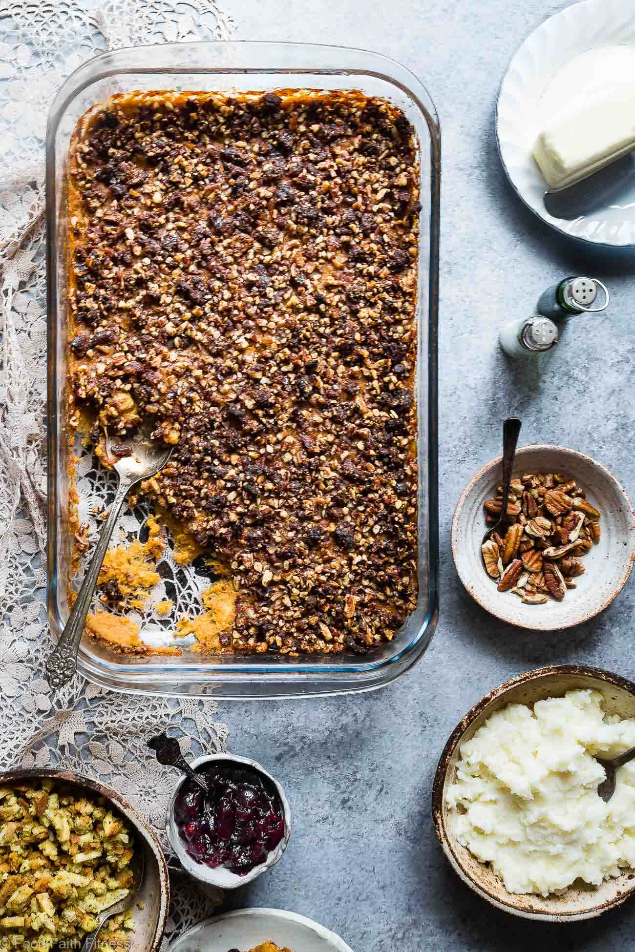 Paleo Easy Healthy Sweet Potato Casserole with Pecan Topping - This recipe for sweet potato casserole is the best side dish for Thanksgiving! No one will believe it's vegan friendly, whole30 compliant and gluten/grain/dairy/sugar AND egg free! | Foodfaithfitness.com | @FoodFaithFit