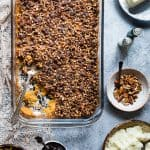 Paleo Easy Healthy Sweet Potato Casserole with Pecan Topping - the best side dish for Thanksgiving! No one will believe it's vegan friendly, whole30 compliant and gluten/grain/dairy/sugar AND egg free! | Foodfaithfitness.com | @FoodFaithFit
