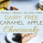 Paleo Caramel Apple Cheesecake - You will never believe thiscreamy caramel apple paleo cheesecake is vegan friendly and gluten, grain and dairy free! The perfect healthy comfort food dessert for the fall! | Foodfaithfitness.com | @FoodFaithFit