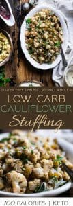 Low Carb Cauliflower Stuffing - Made entirely from vegetables but has all the flavor of traditional bread stuffing! It's super easy, whole30 compliant, paleo, vegan, gluten free and SO delicious! Perfect for Thanksgiving or Christmas! | Foodfaithfitness.com | @FoodFaithFit