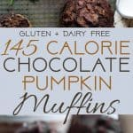 Healthy Gluten Free Chocolate Pumpkin Muffins - SO moist and chewy! Made with whole grains, dairy free, low fat, only 140 calories!  Perfect for breakfast or snack and kid friendly too! | Foodfaithfitness.com | @FoodFaitFit