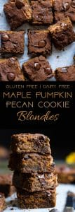 Cookie Stuffed Pumpkin Blondies -Cookies are baked right inside these healthier pumpkin brookies! They're so dense and chewy you'll never know they're gluten and dairy free! | Foodfaithfitness.com | @FoodFaithFit