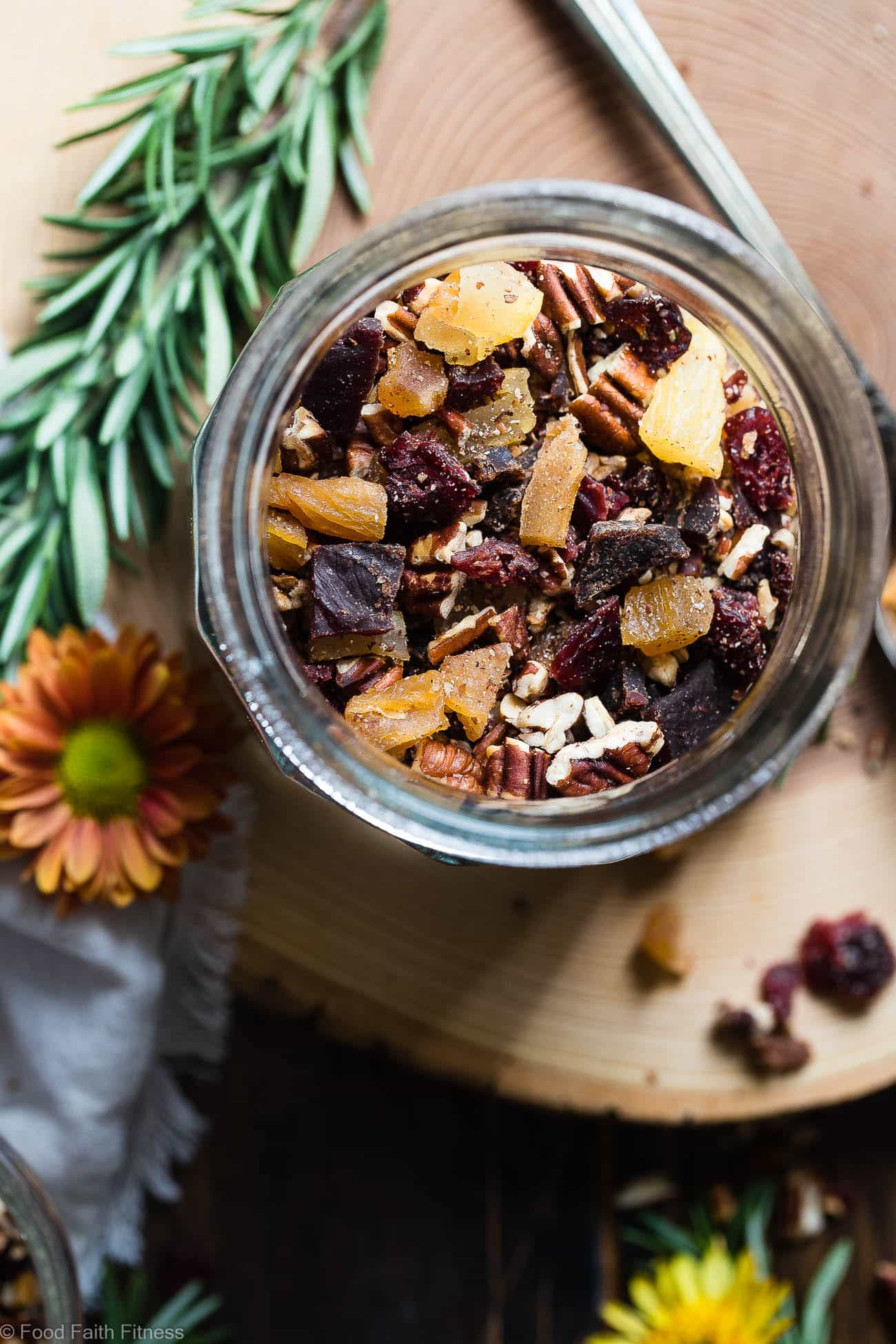 Protein Packed Fall Trail Mix -This quick and easy fall trail mix recipe only uses 6 ingredients and is secretly high in protein! It's a healthy gluten, grain and dairy free portable snack for busy days that is adult and kid friendly!   Foodfaithfitness.com   @FoodFaithFit