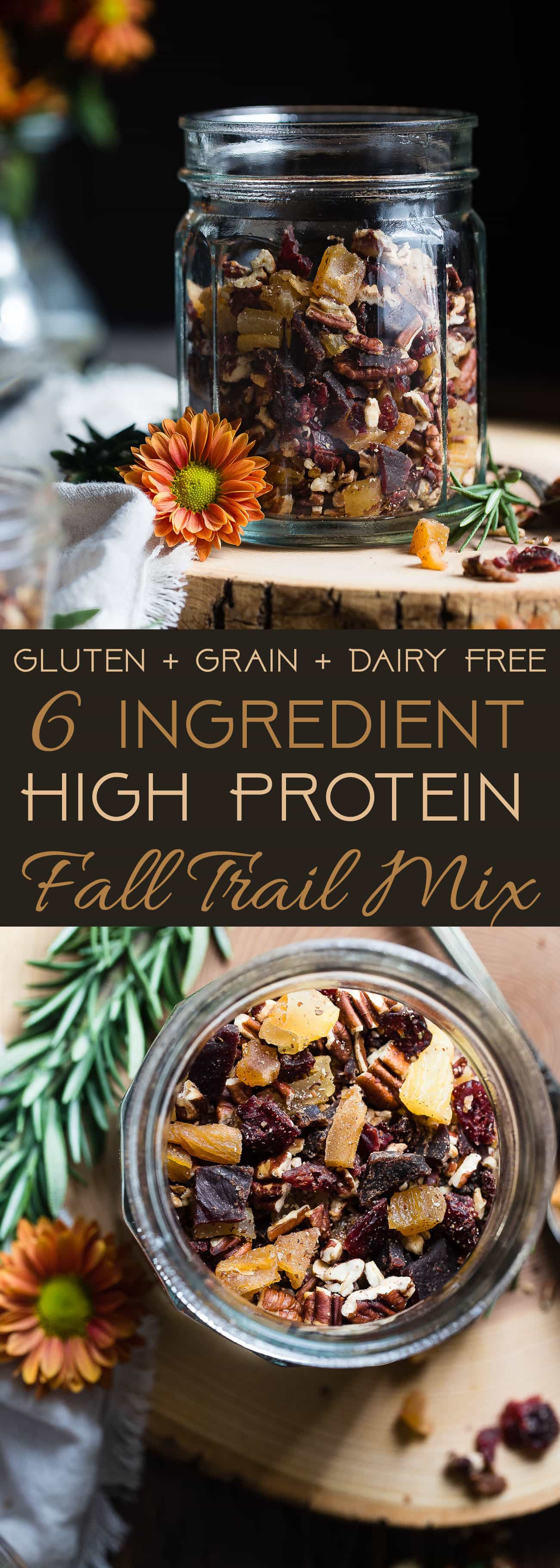 Protein Packed Fall Trail Mix -This quick and easy fall trail mix recipe only uses 6 ingredients and is secretly high in protein! It's a healthy gluten, grain and dairy free portable snack for busy days that is adult and kid friendly! | Foodfaithfitness.com | @FoodFaithFit | Homemade trail mix recipe. sweet trail mix recipe. easy trail mix recipe. trail mix recipe for kids. healthy trail mix recipe. protein trail mix recipe. trail mix for kids. savory trail mix recipe.
