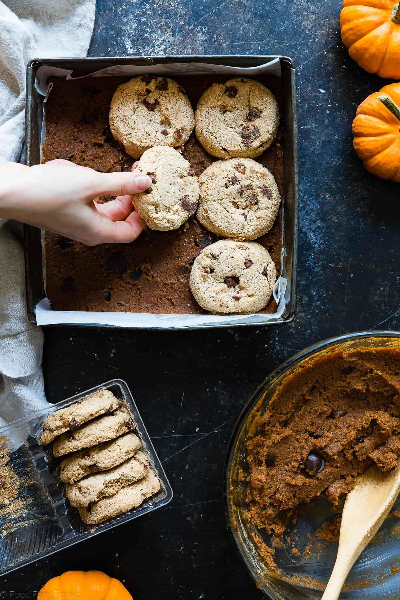 Cookie Stuffed Gluten Free Pumpkin Blondies -Cookies are baked right inside these healthier pumpkin brookies! They're so dense and chewy you'll never know they're gluten and dairy free! | Foodfaithfitness.com | @FoodFaithFit