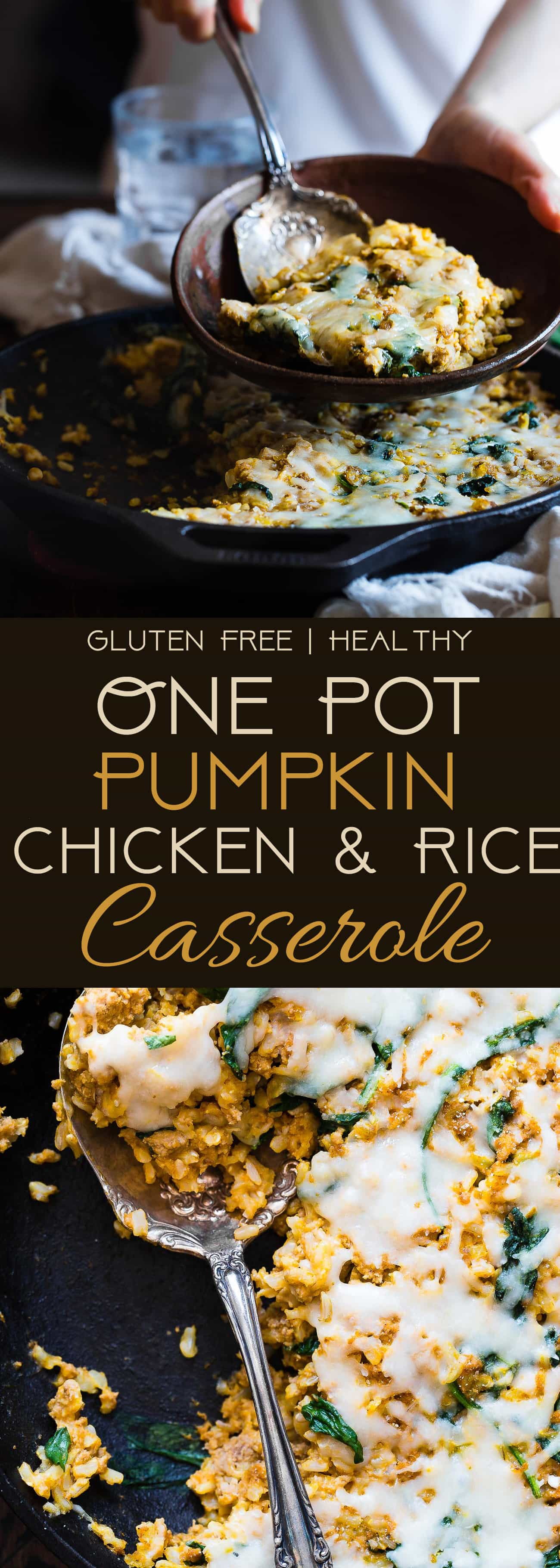 One Pot Pumpkin Rice Casserole - This rice casserole only requires one pot, under 10 ingredients and has lots of cheesy, pumpkin taste! It's an easy, gluten free, healthy fall dinner that is sure to be a crowd pleaser! | Foodfaithfitness.com | @FoodFaithFit | Simple rice casserole. easy rice casserole. healthy rice casserole. rice casserole recipes. chicken rice casserole. rice casserole dinners. one pot meals. 30 minute meals.
