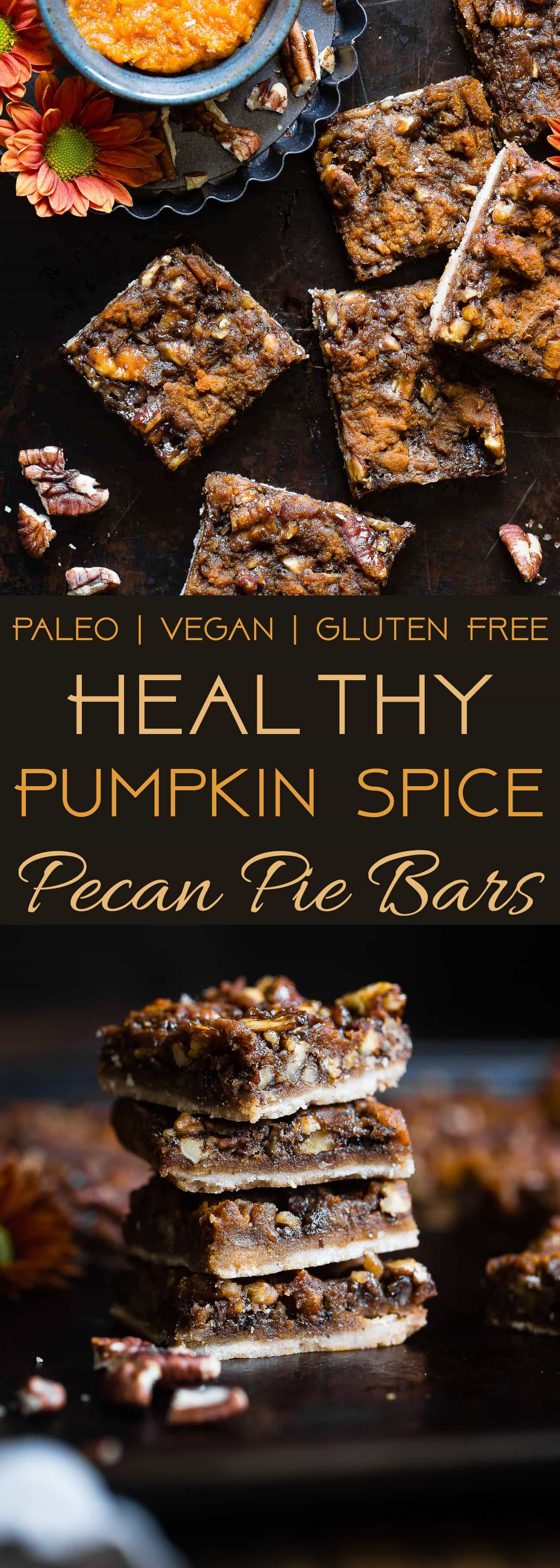 Pumpkin Spice Vegan Pecan Pie Bars -These easy, healthy pecan pie bars are only 8 ingredients and have a pumpkin spice spin! A gluten/grain/dairy/egg free dessert for Thanksgiving that's paleo friendly! | Foodfaithfitness.com | @FoodFaithFit | easy pecan pie bars. pecan pie bars no corn syrup. best pecan pie bars. healthy pecan pie bars. paleo pecan pie bars. gluten free pecan pie bars. pumpkin pecan pie bars. maple pecan pie bars. chewy pecan pie bars.