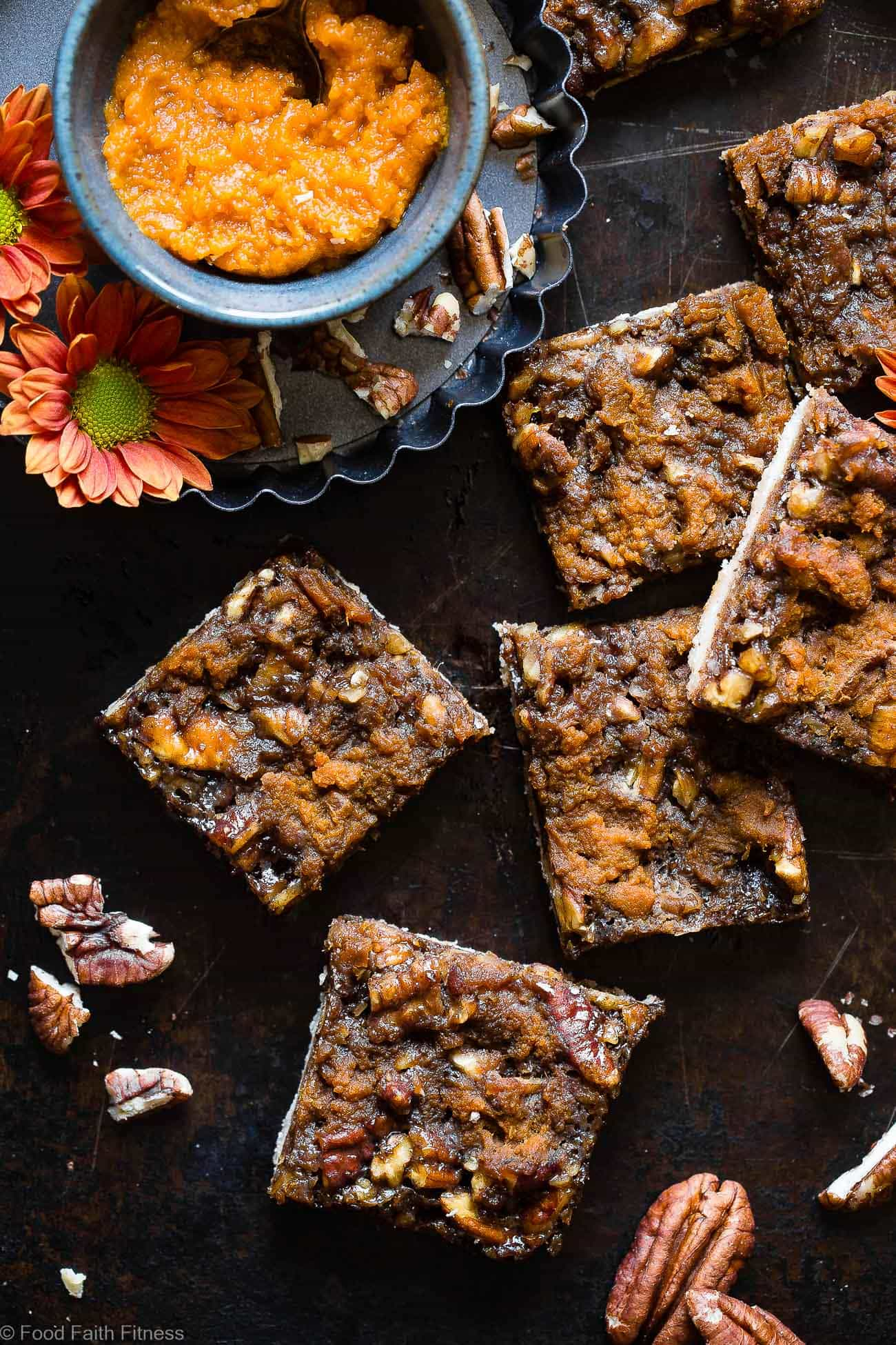 Pumpkin Spice Vegan Pecan Pie Bars - These easy, healthy pecan pie bars are only 8 ingredients and have a pumpkin spice spin! A gluten/grain/dairy/egg free dessert for Thanksgiving that's paleo friendly! | Foodfaithfitness.com | @FoodFaithFit