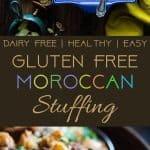 Moroccan Gluten Free Stuffing -This simple gluten free stuffing is made with spicy-sweet Moroccan flavors, apples and dried fruit! It's a healthy, dairy-free twist on a classic side dish that's perfect for Thanksgiving! | Foodfaithfitness.com | @FoodFaithFit