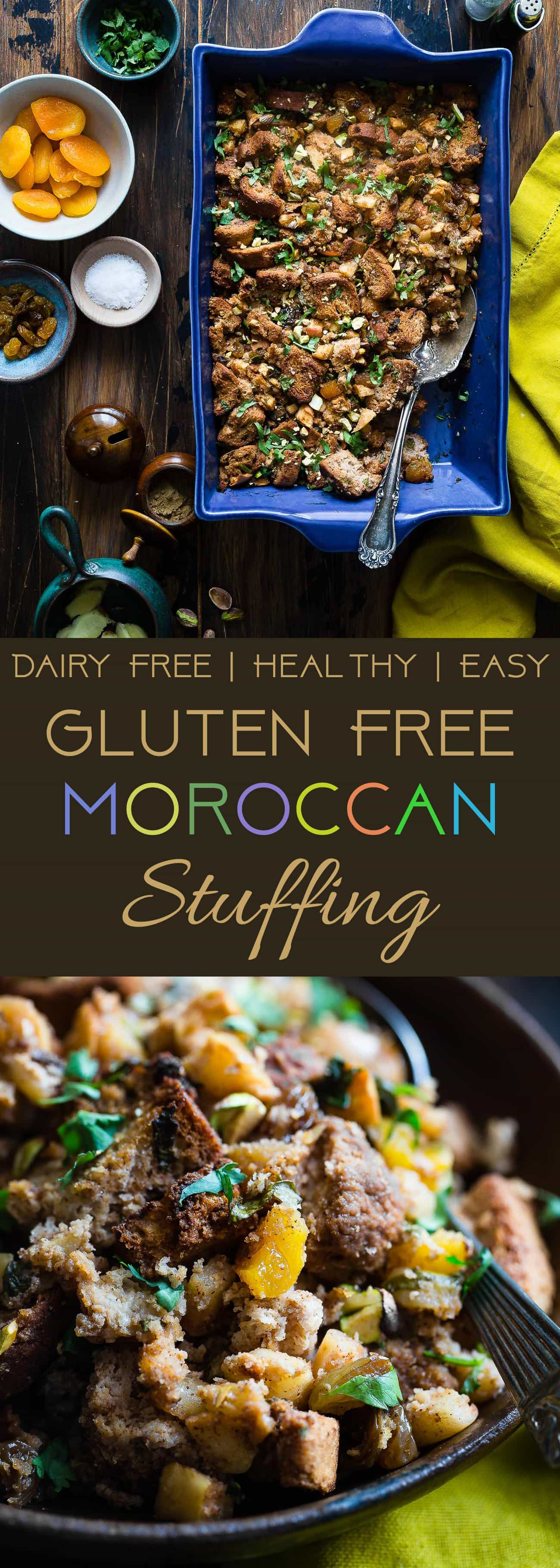 Moroccan Gluten Free Stuffing -This simple gluten free stuffing is made with spicy-sweet Moroccan flavors, apples and dried fruit! It's a healthy, dairy-free twist on a classic side dish that's perfect for Thanksgiving! | Foodfaithfitness.com | @FoodFaithFit | best gluten free stuffing. homemade gluten free stuffing. thanksgiving gluten free stuffing. gluten free stuffing for thanksgiving. clean eating stuffing. udis gluten free stuffing. apple gluten free stuffing.