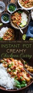 Instant Pot Vegan Chickpea Curry - This easy chickpea curry is made in the Instant Pot and ready in 20 mins! It uses coconut milk and tomatoes to make it thick and so creamy! Makes great leftovers and is great for meal prep! | Foodfaithfitness.com | @FoodFaithFit
