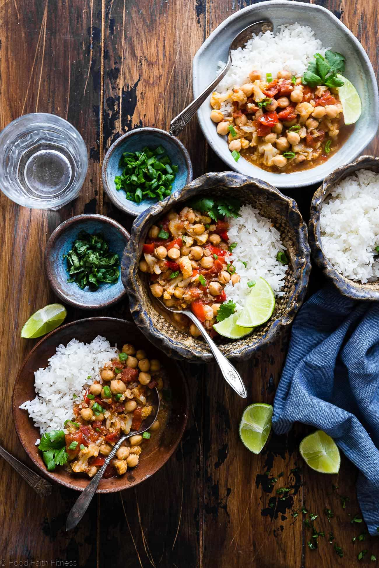 Instant Pot Vegan Chickpea Curry - This easy healthy chickpea curry is made in the Instant Pot and ready in 20 mins! It uses coconut milk and tomatoes to make it thick and so creamy! Makes great leftovers and is great for meal prep! | Foodfaithfitness.com | @FoodFaithFit