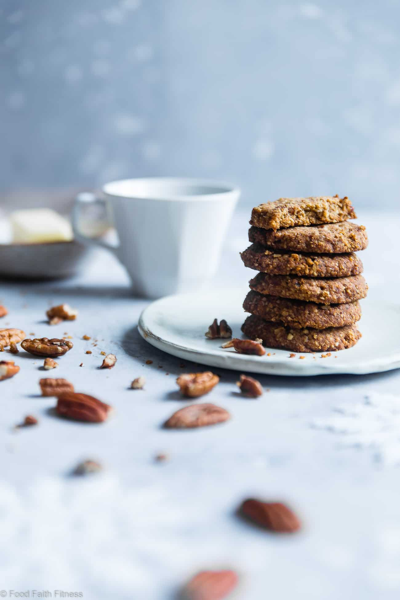 Brown Sugar Chewy Butter Pecan Cookies Recipe - These 6 ingredient, gluten free cookies with pecans are perfectly crisp on the outside and chewy on the inside! A paleo and vegan friendly, dairy-free treat for the holidays! | Foodfaithfitness.com | @FoodFaithFit