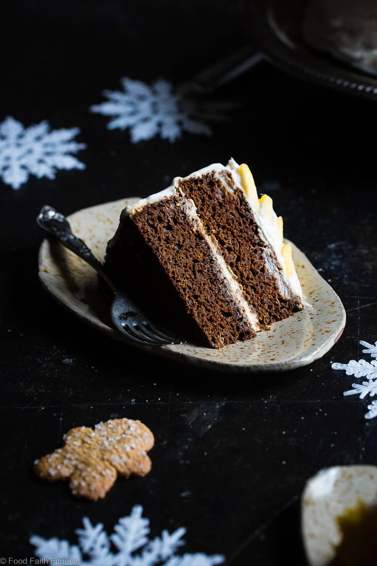 Gluten Free Mango Gingerbread Cake with Coconut Cream - This spicy-sweet, show stopping gluten free gingerbread cake recipe is studded with juicy, fresh mangoes to create a healthy, paleo-friendly, festive dessert for the Holidays! | Foodfaithfitness.com | @FoodFaithFit
