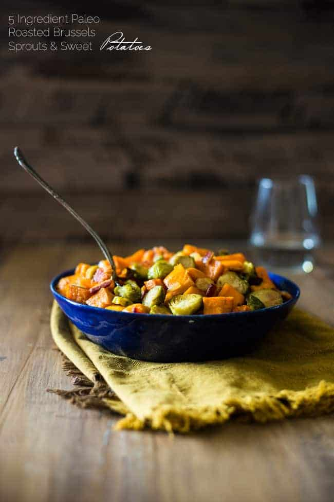 baked brussel sprouts in a bowl with sweet potatoes