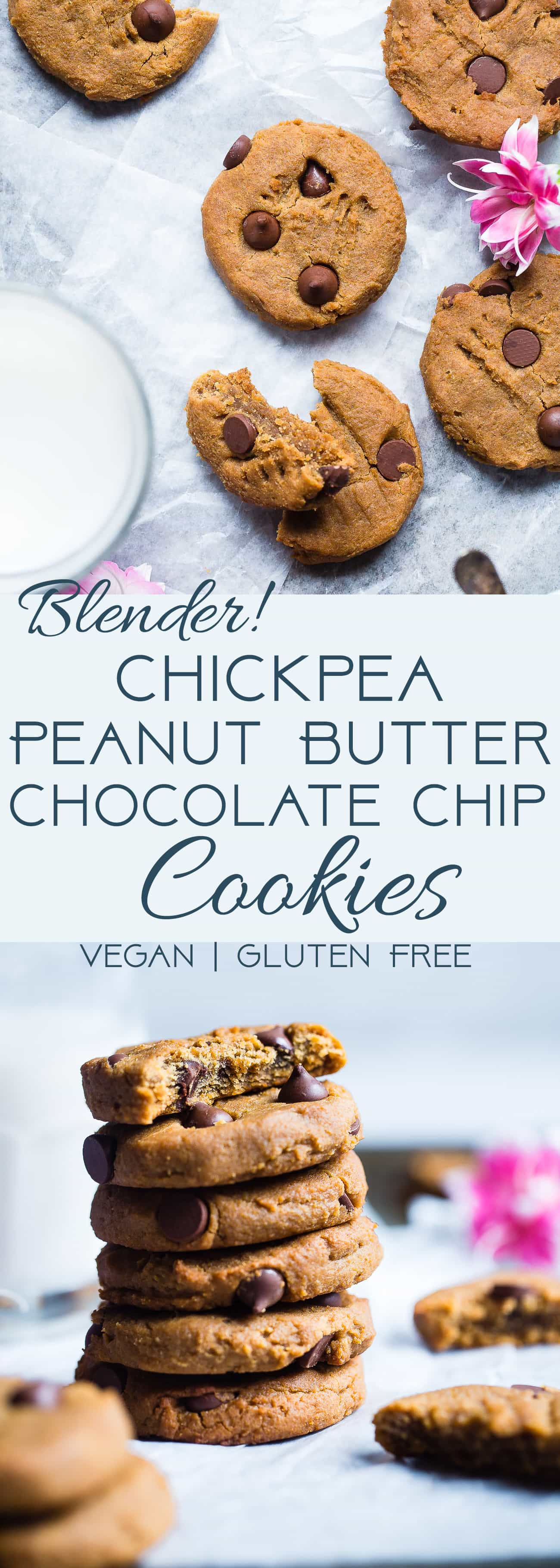 PPeanut Butter Chickpea Chocolate Chip Cookies - These kid-friendly, vegan cookies are SO soft and chewy! You would never believe they are healthy and gluten/grain/dairy/egg AND refined sugar free! | Foodfaithfitness.com | @FoodFaithFit | Vegan chickpea cookies. healthy chickpea cookies. gluten free chocolate chip cookies. healthy chocolate chip cookies. vegan chocolate chip cookies. chickpea cookie dough. flourless peanut butter cookies. gluten free peanut butter cookies. healthy peanut butter cookies