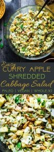 Curry Cashew Shredded Cabbage Salad with Apples - A sugar and gluten free healthy salad that is mixed witha creamy curry dressing and crunchy cashews! A healthy, paleo and whole30 side dish that everyone will love! | Foodfaithfitness.com | @FoodFaithFit