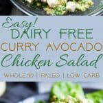 Curried Paleo Chicken Salad -This quick and easy dairy free paleo chicken salad is a low carb, keto friendly, gluten free and whole30 compliant lunch with a spicy curry kick! So creamy and delicious and great for meal prep! | Foodfaithfitness.com | @FoodFaithFit | whole 30 chicken salad. avocado chicken salad. healthy chicken salad. chicken salad without mayo. low carb chicken salad. Whole30 lunch ideas