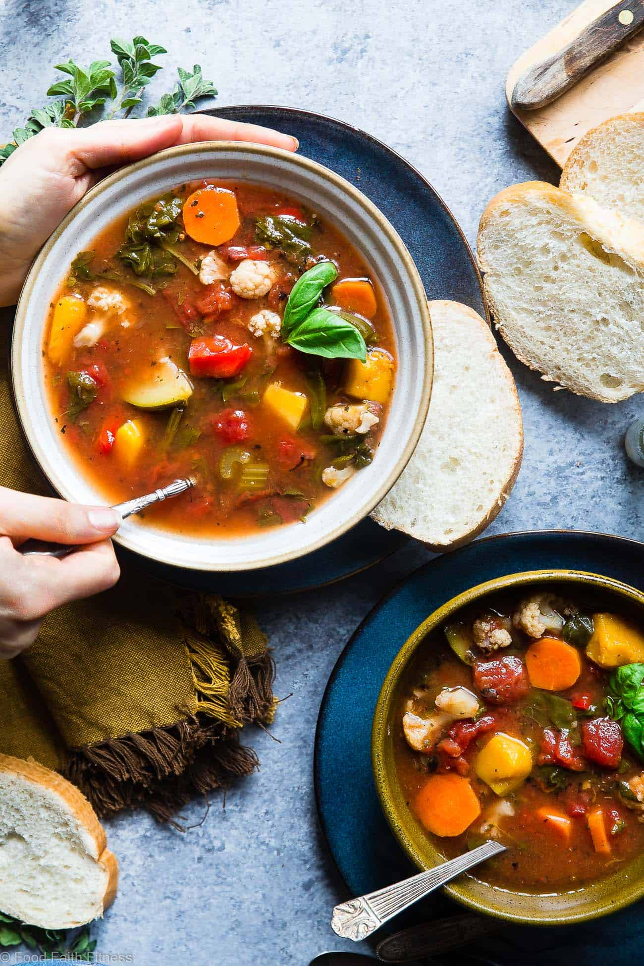 Easy Homemade Crockpot Vegetable Soup Recipe - Let the crockpot do the work for you with this simple soup that is a whole30, paleo and vegan dinner with only 1 SmartPoint and 85 calories! A family friendly dinner for busy weeknights that will please the pickiest of eaters! | Foodfaithfitness.com | @FoodFaithFit