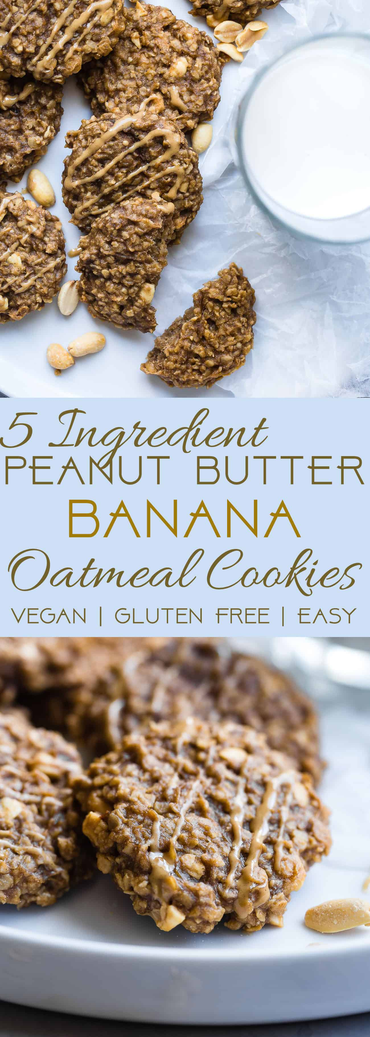 Healthy Peanut Butter Oatmeal Banana Cookies - These gluten free oatmeal cookies use only 5 simple ingredients and are dairy free and vegan friendly! A healthy treat for kids and adults that can be a breakfast or snack! | Foodfaithfitness.com | @FoodFaithFit