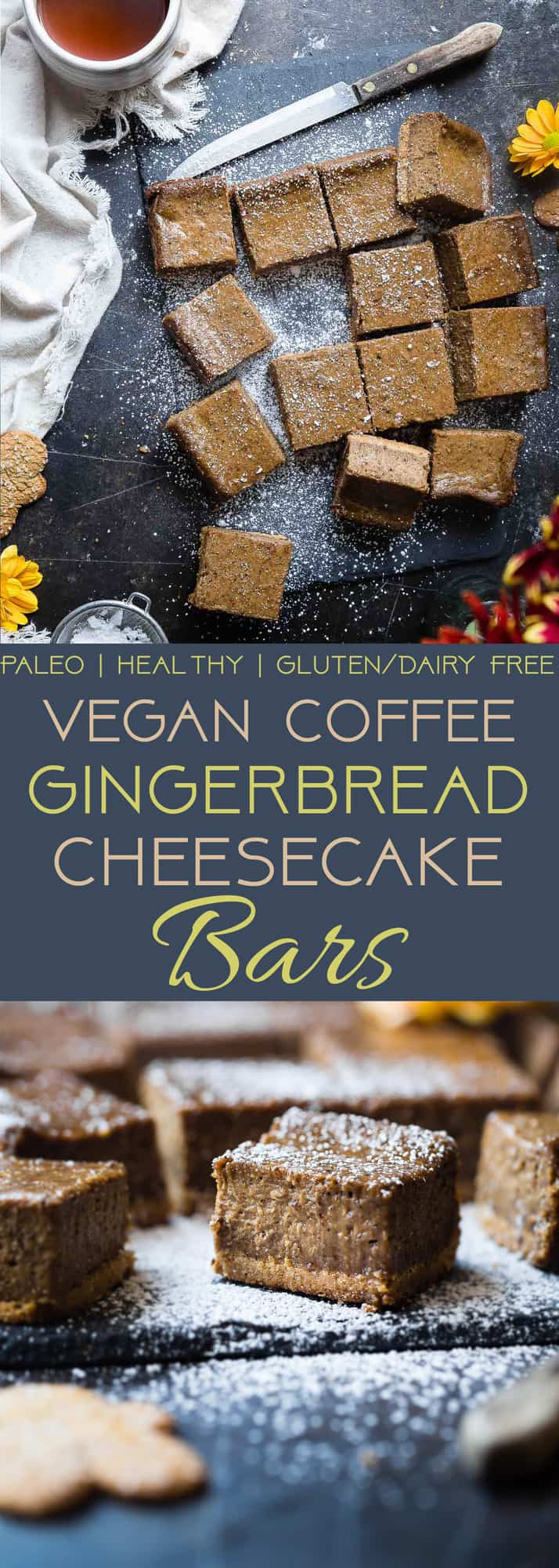 Dairy Free Vegan Gingerbread Cheesecake Bars - These little bites of gingerbread bliss are SO creamy and spicy-sweet! A paleo friendly, healthy and gluten free dessert for the holidays that you will never believe is dairy and egg free!  | Foodfaithfitness.com | @FoodFaithFit | gluten free gingerbread cheesecake. vegan cheesecake. healthy cheesecake bars. healthy christmas desserts. paleo cheesecake.