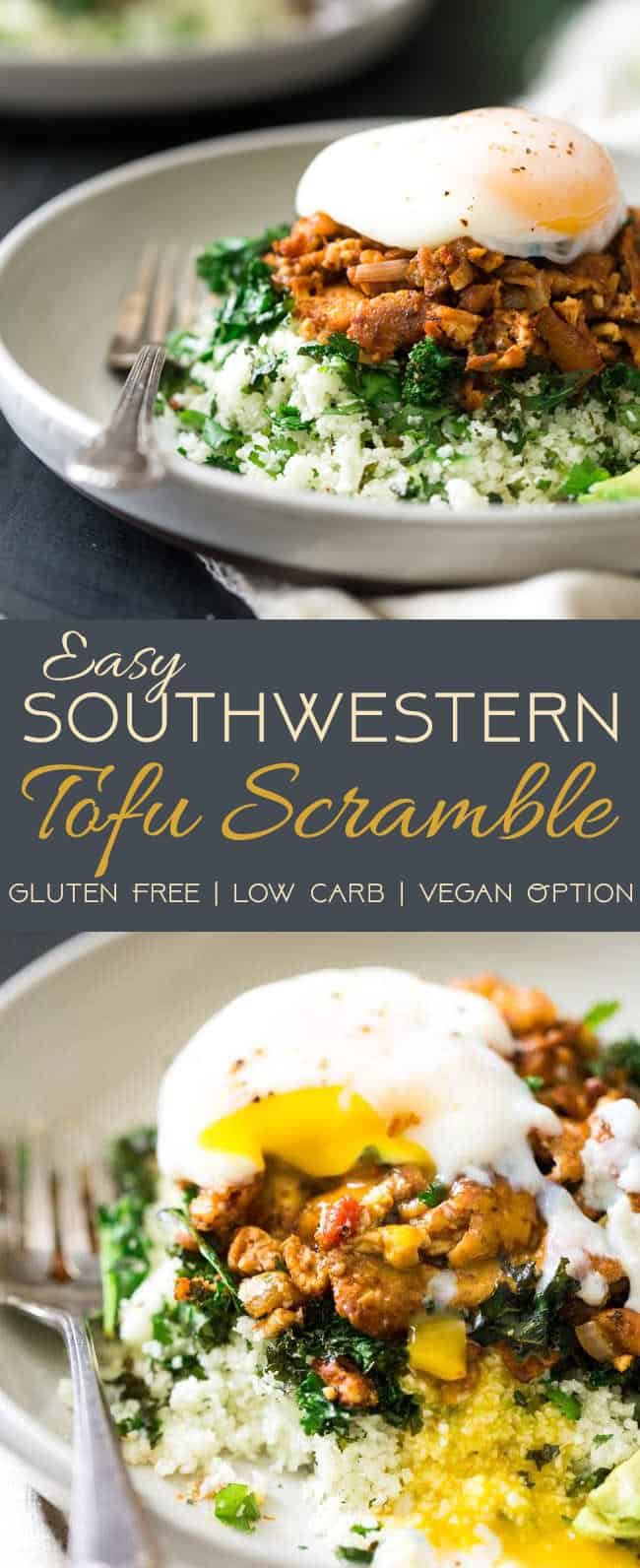 Easy Southwest Tofu Scramble with Cauliflower Rice and Kale - The perfect weeknight meal for your Meatless Monday that is gluten free, low carb and SO delicious! | Foodfaithfitness.com | vegan tofu scramble. tofu stir fry. healthy tofu scramble. mexican tofu. minimalist baker.
