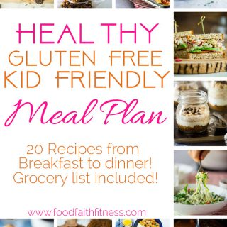 Kid Friendly Meal Plan - Need some healthy, gluten free and easy recipes that are kid approved? This dinner plan has ideas from breakfast to dinner, including snacks and desserts! Grocery list included! | Foodfaithfitness.com | @FoodFaithFit