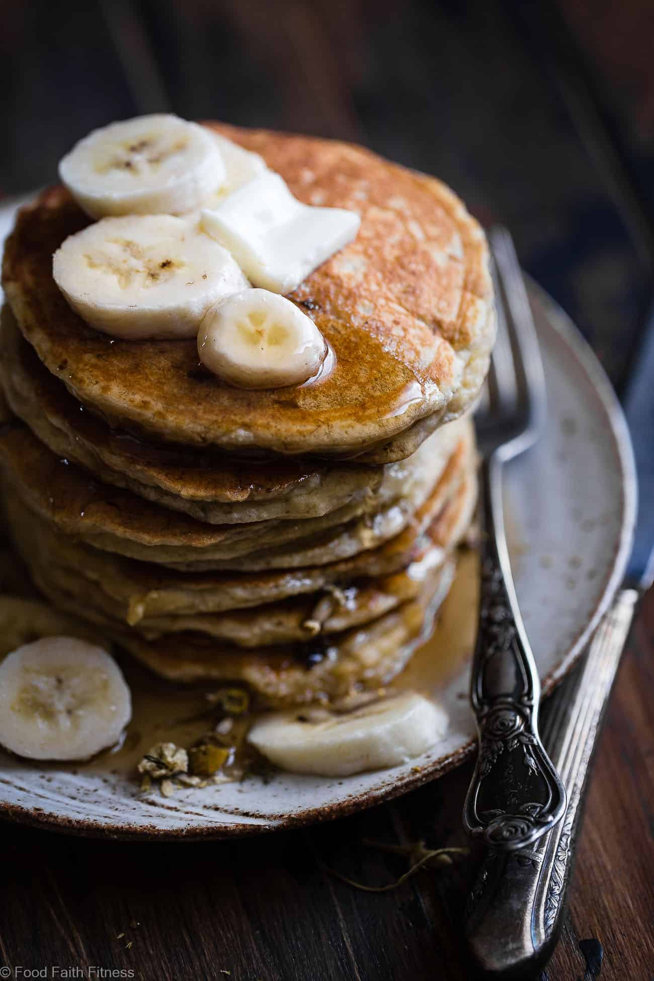 Easy Paleo Banana Pancakes with Coconut Flour - These quick and easy banana pancakes are naturally sweetened, gluten, grain and dairy free and SO light and fluffy! The perfect healthy start to your day or weekend breakfast! | Foodfaithfitness.com | @FoodFaithFit