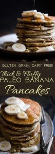 Easy Paleo Banana Pancakes - These quick and easy banana pancakes are naturally sweetened, gluten, grain and dairy free and SO light and fluffy! The perfect healthy start to your day or weekend breakfast! | Foodfaithfitness.com | @FoodFaithFit