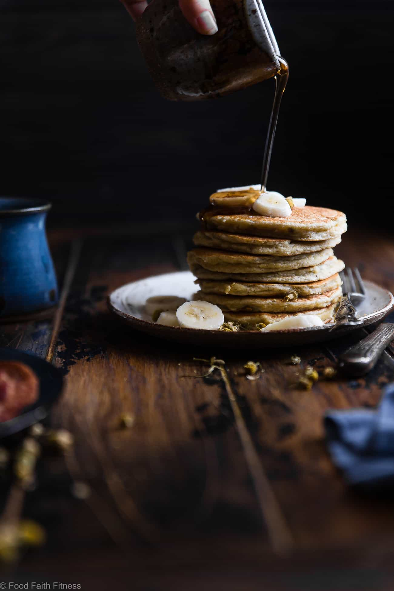 Easy Paleo Banana Pancakes with Coconut Flour -Thesequick and easy banana paleo pancakesare naturally sweetened, gluten, grain and dairy free and SO light and fluffy! The perfect healthy start to your day or weekend breakfast! | Foodfaithfitness.com | @FoodFaithFit