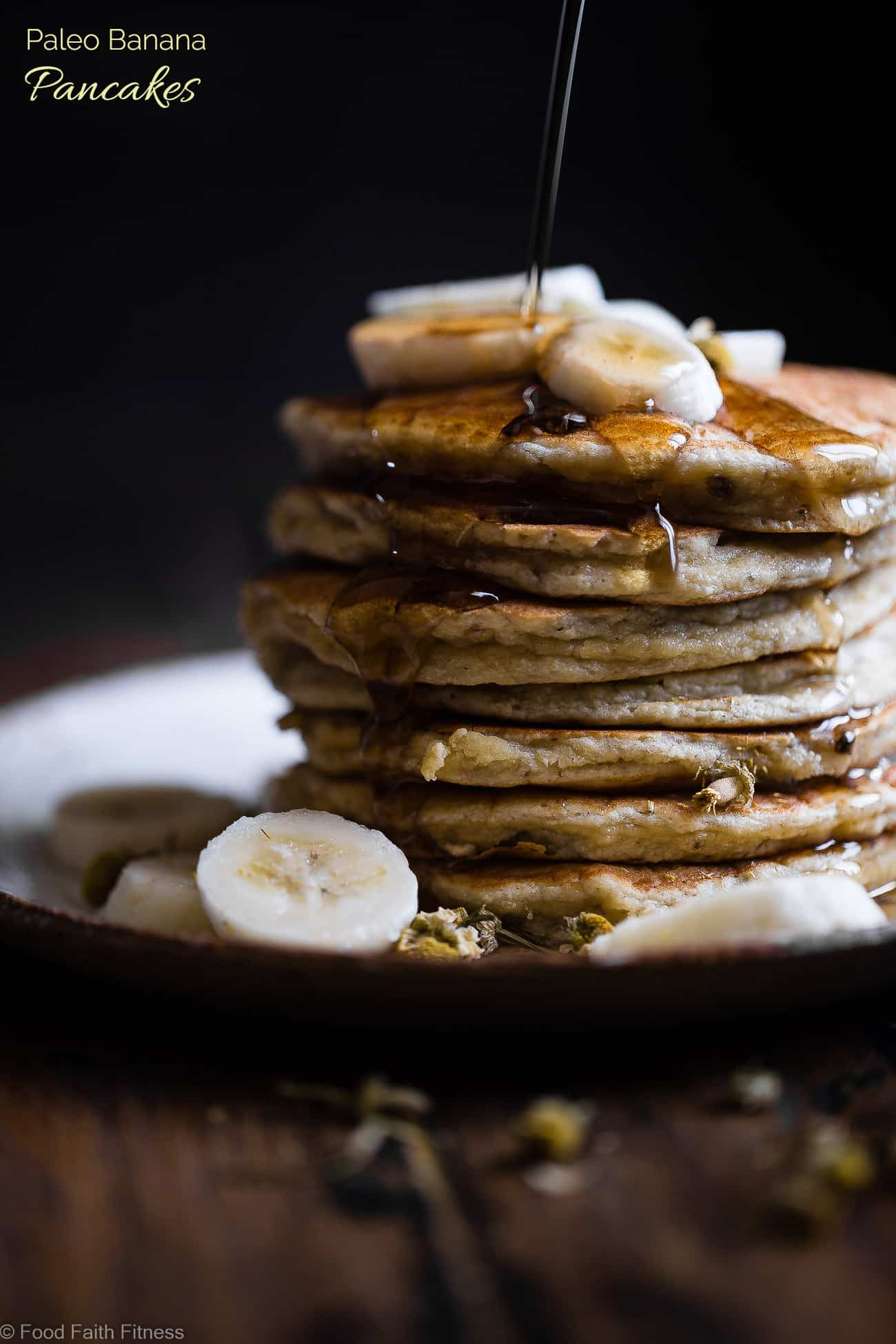 Easy Paleo Banana Pancakes with Coconut Flour -Thesequick and easy banana pancakesare naturally sweetened, gluten, grain and dairy free and SO light and fluffy! The perfect healthy start to your day or weekend breakfast! | Foodfaithfitness.com | #Foodfaithfitness | #Paleo #Glutenfree #Pancakes #Grainfree