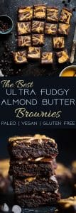 The BEST Paleo Almond Butter Brownies - SO dense, chewy and fudgy that will never believe these are gluten/grain/dairy/oil free and only 150 calories! Made in one bowl and SO easy! | #Foodfaithfitness | #Paleo #glutenfree #brownies #paleobrownies #almondbutter
