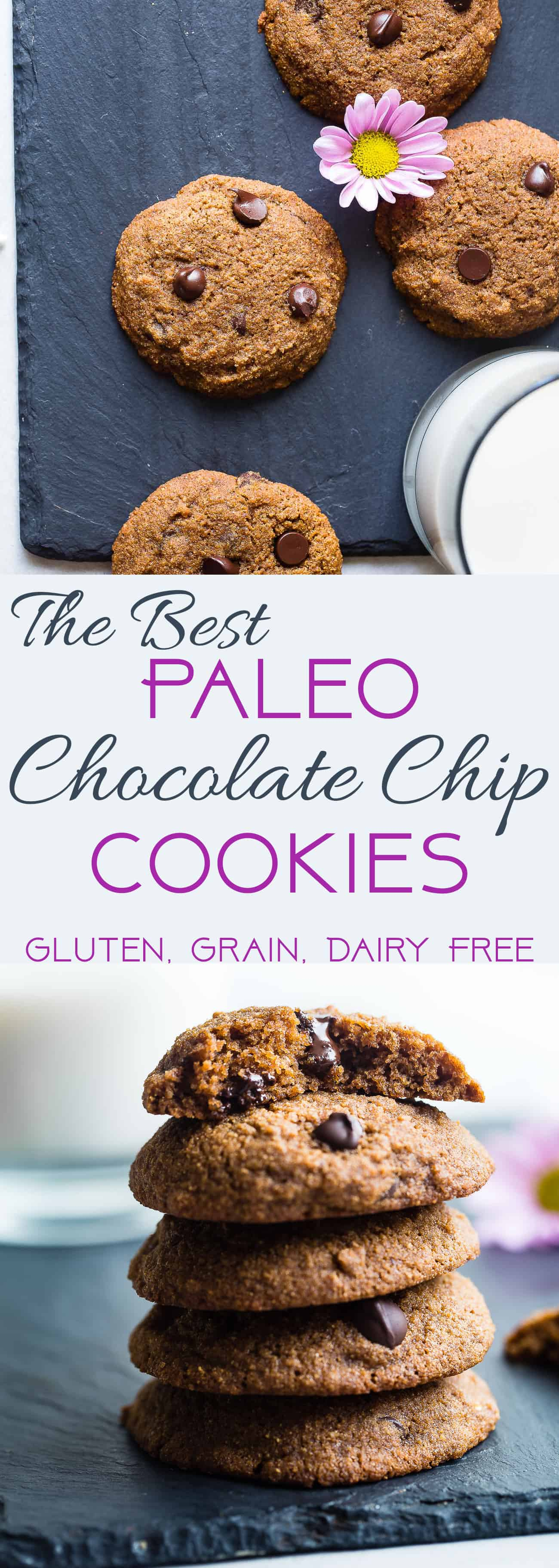 The Best Paleo Chocolate Chip Cookies - These EASY paleo friendly cookies are buttery, soft, chewy and SO rich and chocolaty! You won't believe they are gluten, grain and refined sugar free! | #Foodfaithfitness | #Paleo #Cookies #Glutenfree #ChocolateChip #GrainFree