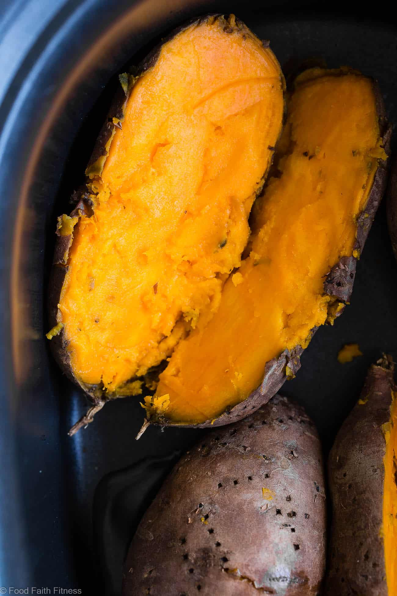 How to Cook Sweet Potatoes in the Crock Pot - Let the slow cooker do all the work for you! These sweet potatoes are SO easy and come out perfect EVERY TIME! A healthy, paleo, vegan and whole30 side dish! | #Foodfaithfitness | #Paleo #Glutenfree #Healthy #Slowcooker #Crockpot
