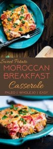 Moroccan Whole30 Breakfast Casserole -This healthy, gluten free, paleo breakfast casserole is an easy breakfast or brunch with a little taste of the Middle East! Grain/dairy/sugar free and only 200 calories a serving! | #Foodfaithfitness | #whole30 #paleo #glutenfree #healthy #breakfast