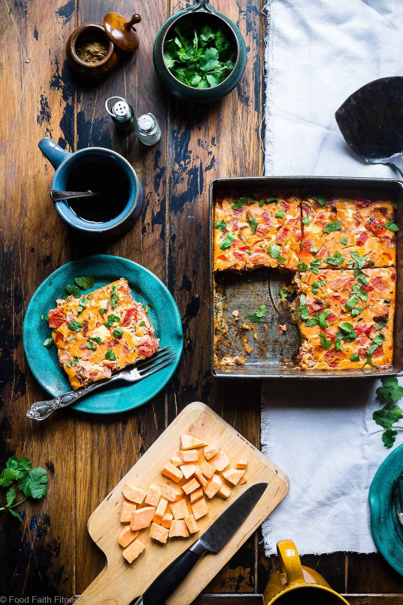 Healthy Gluten Free Paleo Egg Casserole - This healthy, gluten free,  paleo breakfast casserole is an easy breakfast or brunch with a little taste of the Middle East!  Grain/dairy/sugar free and only 200 calories a serving! | #Foodfaithfitness | #whole30 #paleo #glutenfree #healthy #breakfast